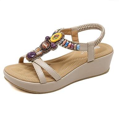 bd6939d85 POLP Sandalias y Chancletas Zapatos de Plataforma Plana Costura Peep Toe  Sandalias de Cerrojo Playa Zapatos de Verano Sandalias con Plataforma para  Mujer ...