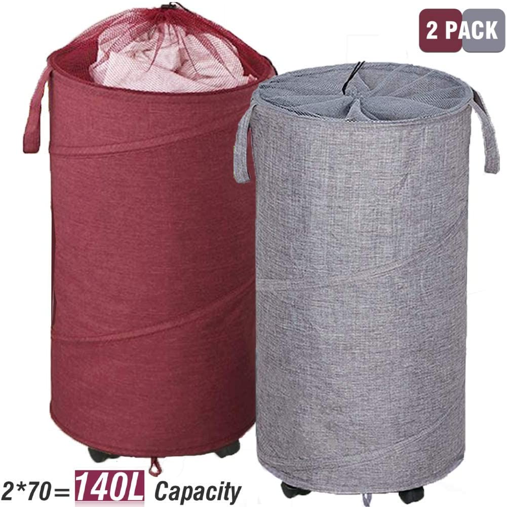 Newest ZYMEO 2 Pack Collapsible Laundry Basket with Wheels, Handles and Mesh Tops - Smart Design, Large, 70 Liter Each, Oxford Fabrics, Wine Red and Gray