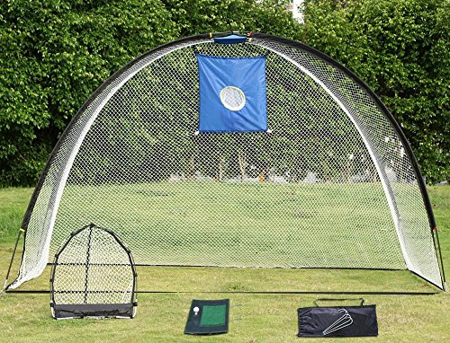 Topeakmart 3 in 1 Golf Practice Set Hitting Cage Chipping Net Driving Mat Aid Training + Free Bag & free 4 nails