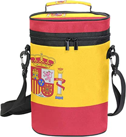 Bolsa de transporte para vino con aislante de la bandera de España – Bolsa de viaje para 2 botellas con asa y correa ajustable para el hombro: Amazon.es: Hogar