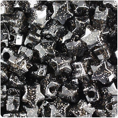 BEADTIN Jet Silver Sparkle 13mm Star Pony Beads (250pc) (Black Star Sparkle)