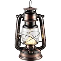 Rechargeable Vintage Hurricane Lantern, Metal Hanging Lantern with Dimmer Switch, 15 LEDs Battery Operated Lantern for…