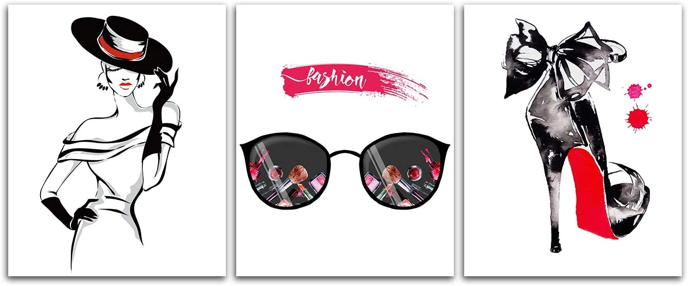 Fashion Woman Art Print Poster - High Heels Sunglasses Picture Black and White Vogue Canvas Minimalist Makeup Painting Wall Decor Stylish Home Bedroom Bathroom Lady Boss Decorations Unframed 8x10inch