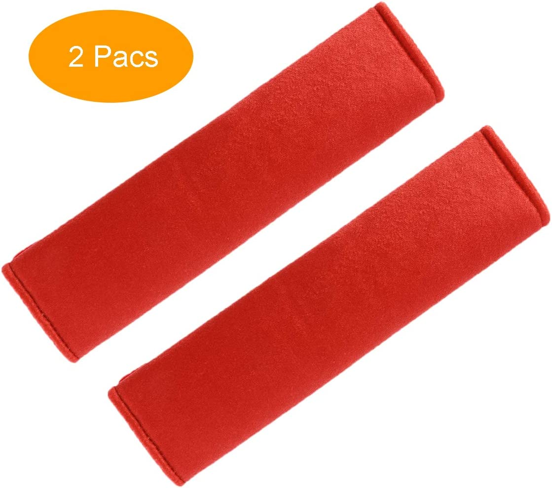 Red Compatible with All Cars 2 Pcs Seat Belt Shoulder Pad Made of Soft Suede Protect Your Neck and Shoulder Fleming Universal Car Seatbelt Pad Cover