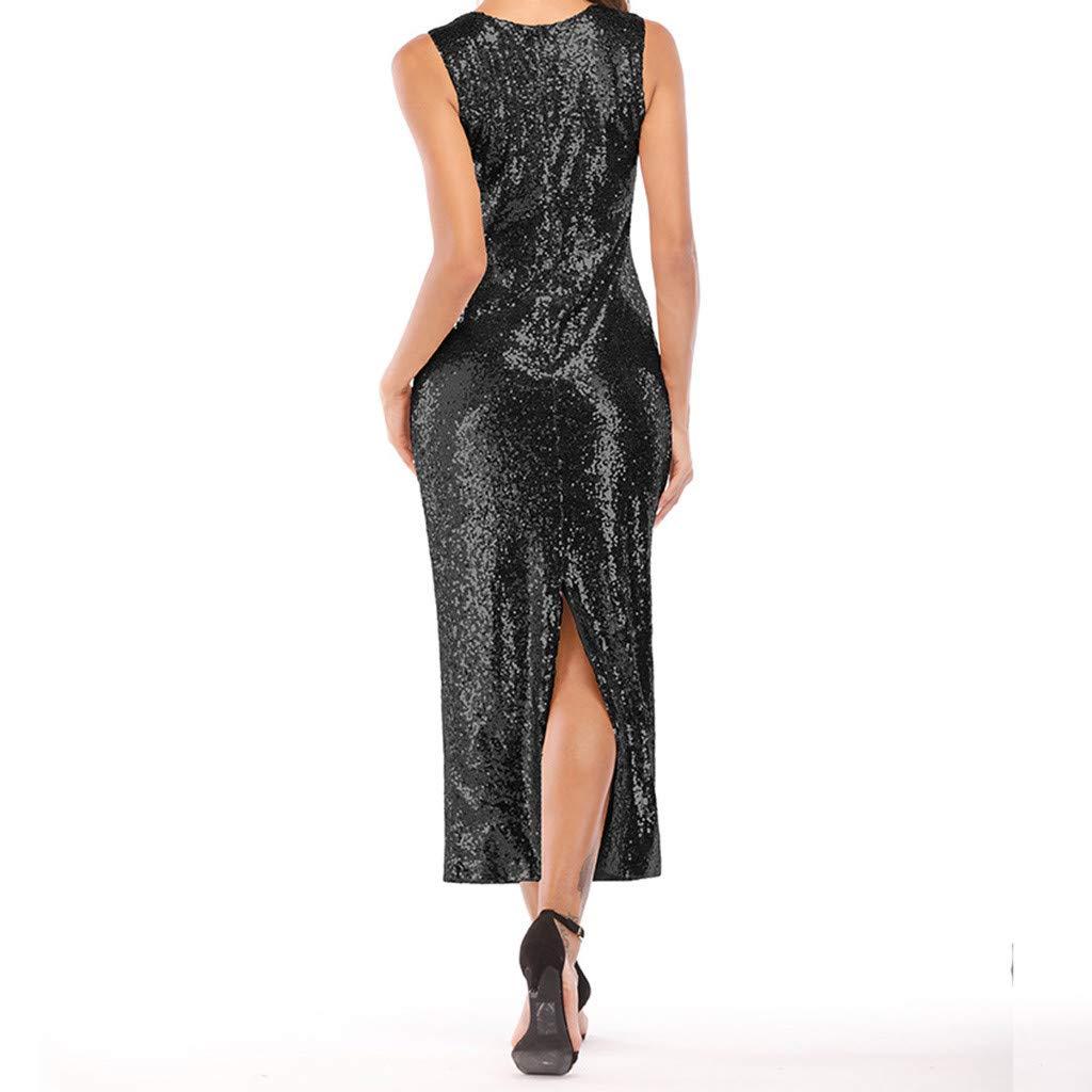 Reokoou Women's Long Sequins Open Sexy Dress Black