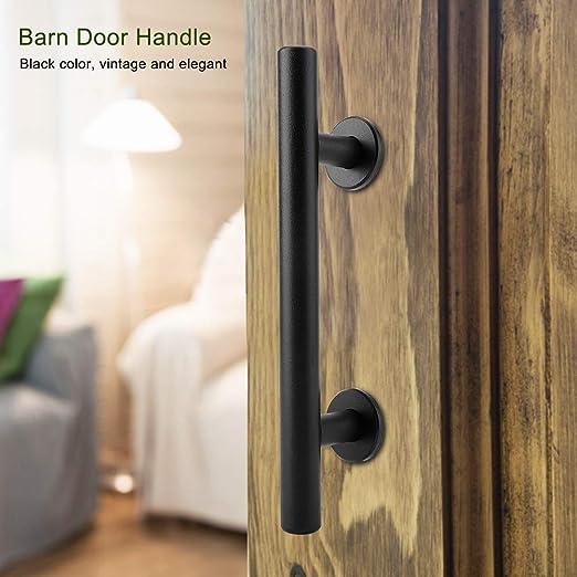 Tirador de la puerta de granero de acero al carbono para trabajo pesado Juego de herrajes en la puerta negra con tornillos de montaje incluidos para puerta de madera: Amazon.es: Bricolaje y