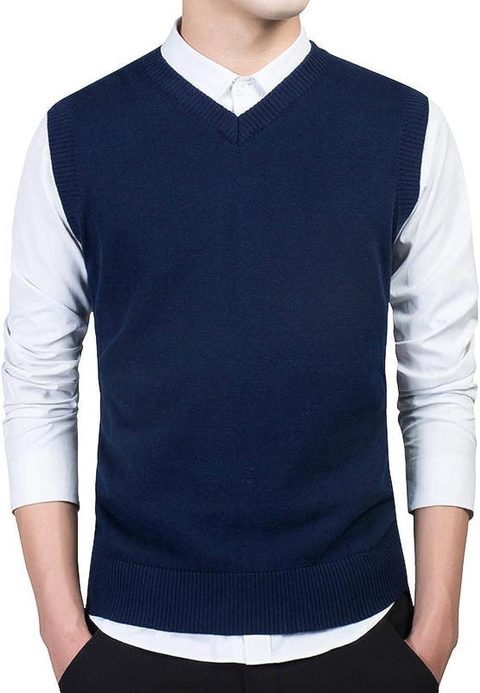 Men Autumn V Neck Slim Vest Sweaters Sleeveless Mens Warm Sweater Cotton Casual,Large,Blue7789