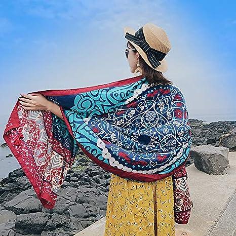 Bufandas Wraps Chal Toalla de Playa Femenina Verano y Verano Viento Nacional portátil Ultrafino Playa Hembra