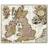 Historische Karte: GROSSBRITANNIEN, IRLAND, SCHOTTLAND, England, Wales, Schottland, Nordirland, Britische Inseln mit den Shetlandinseln, Hebriden, Man, Scilly-Inseln, Orkney, Wight 1717 (gerollt)