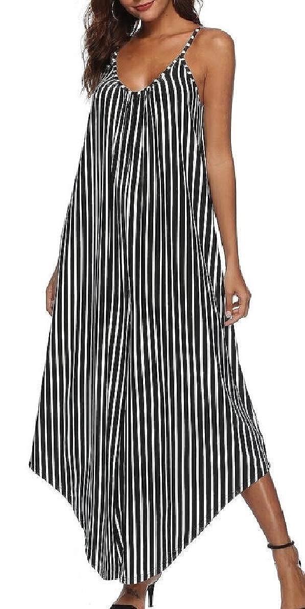 YIhujiuben Womens Striped Printed Spaghetti Strap V Neck Loose Fit Harem Jumpsuit