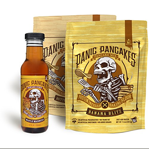 Panic Pancakes Mix & Syrup by Sinister Labs - Pancake Mix 2-Pack Variety (11.5 ounce bag), Maple Madness Syrup, 1 bottle (12 ounce) ()