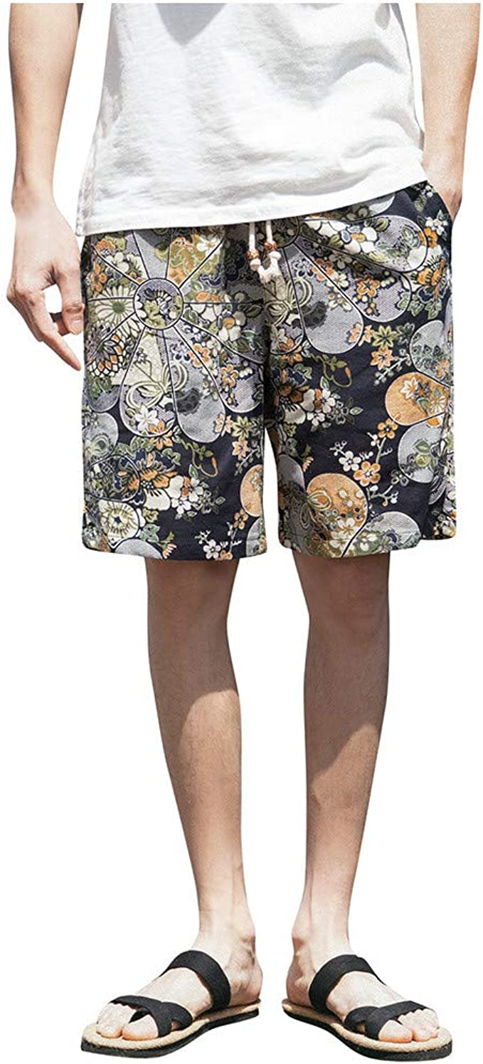 SWORLD Mens Hit Color Stitching Loose Linen Comfort Colors Button Drawstring Shorts