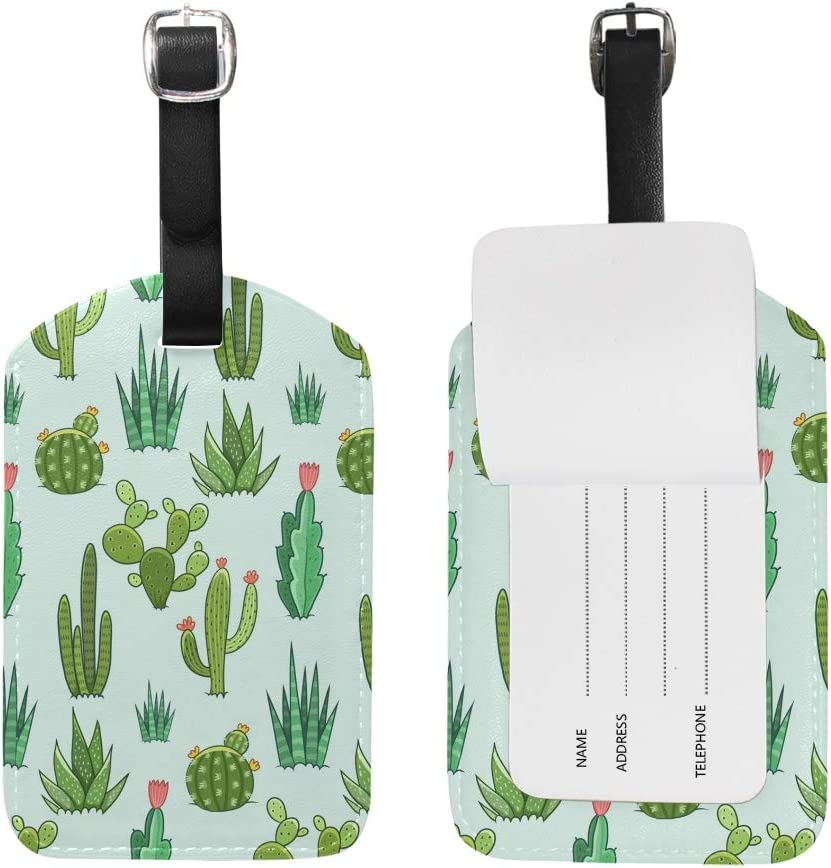 Cactus Travel Luggage Suitcase Label ID Tag PU Leather for Baggage Bag 1 Piece