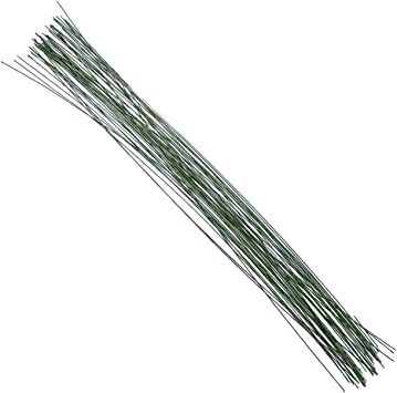14 Inch 100 Pieces White and Black Floral Stem Wire 22 Gauge White Wrapped Wire 20 Gauge Black Flower Wrapped Stem for Artificial Flower Making Supplies and Florist Arrangement Craft Projects