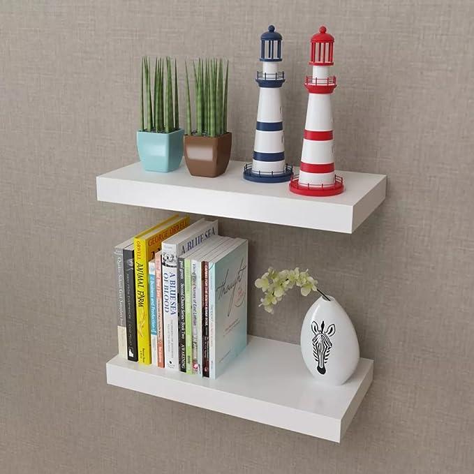 Vislone 2xEstantes Flotantes Estantería de Pared Librerías de Salón Decoración del Hogar DM Blanco 40x20x3,8cm