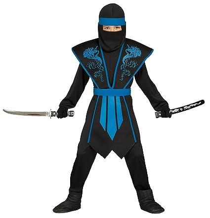 Disfraz de ninja para niños, color azul y negro, con elegante armadura