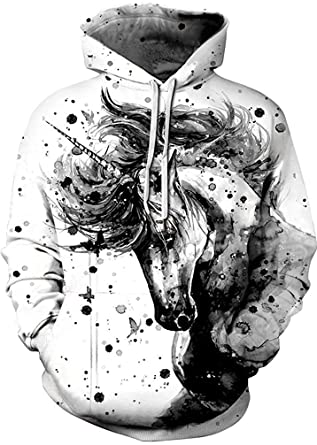 b74325db4318 Image Unavailable. Image not available for. Color: Men's Digital Print  Sweatshirts Hooded Top Galaxy Pattern Hoodie(Black and White Horse-2XL
