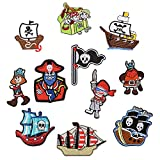 11pcs Pirate Patches Iron-On Or Sew-On Embroidered Patch for Clothing Jacket Backpack Scarf Shoes Applique
