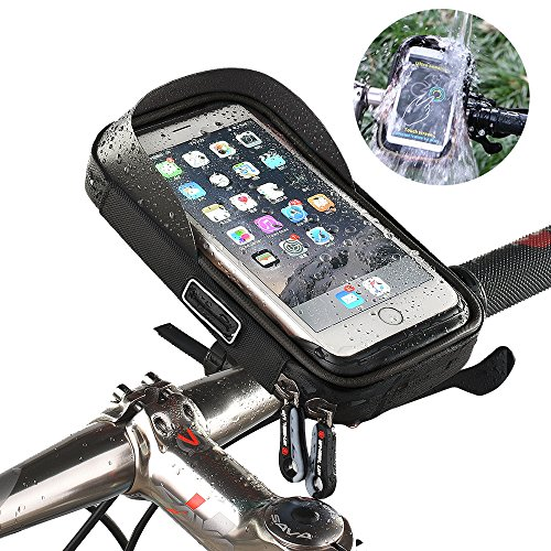 "Handlebar Bag Mount (Bike Phone Mount Bags, Waterproof Touch Screen Bicycle Frame Handlebar Front Black Case Holder 360°Rotatable Top Tube Cycling for iPhone X 8 7 6s plus Samsung Galaxy s7 6 note 7 Cellphone ≤ 6"")"