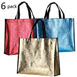 Rumcent Bling Glossy Durable Non-woven Laser Tote Bag Shopping Bag Gift Bag, Reusable Grocery Shopping Bag, Waterproof, Medium - Assorted 3 Colors, 6 PCS