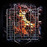 RJQ BBQ Grilling Basket, Portable Stainless Steel Grilling Basket For Kitchen/Outdoor Grill With Long Handle For Vegetable Fish Shrimp and Many Other Food.