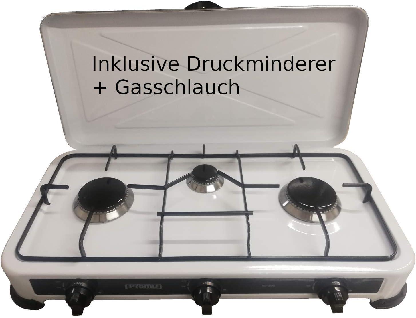 hobs Hornillo de gas cocina de gas camping Horno camping Horno – Hornillo Incluye hobs 3 – Manguera de gas y Reductor de presión – TÜV Rheinland