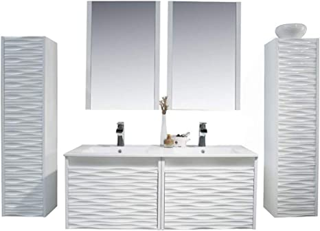 Amazon Com 48 Inch White Bathroom Vanity With Sink All Wood Floating Bathroom Vanity With Sink 48 Inch Mirror 12 Inch Side Cabinet Kitchen Dining