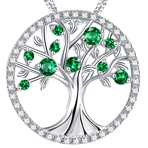 The Tree of Life Love Pendant Created Emerald Necklace Birthday Gifts Sterling Silver Jewelry for Her Wife Family