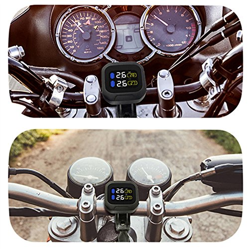 CAREUD Motorcycle Tire Pressure Monitoring System Wireless Motorcycle TPMS Tires Motor Auto Tyre Alarm System Waterproof with 2 External Sensors for Two-Wheeled Motorcycle(Sensor 18x13) by Careud (Image #2)