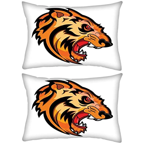 Pack de 2 Angry Tiger Face Mascot Vector Tattoo Rectángulo ...