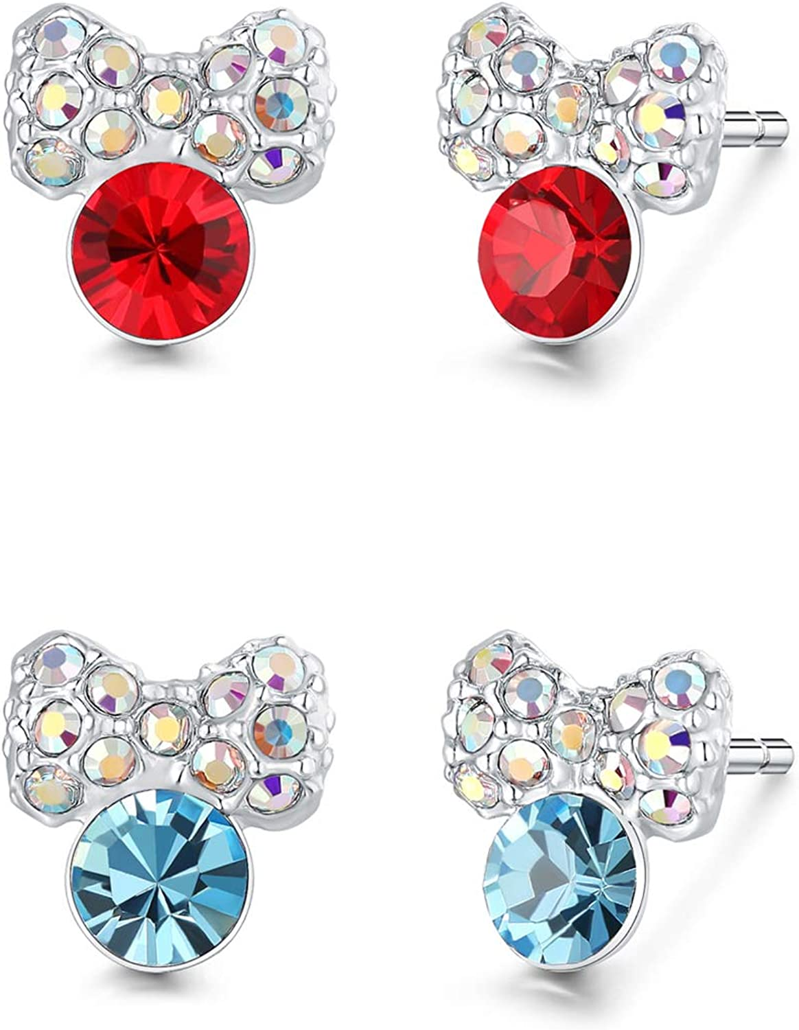 Childrens Kids Girls 925 Silver Butterfly Ear Studs with Crystal-Free Gift Box