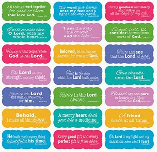 Scripture Stickers (Set of 42 Stickers with 21 Bible Verses in White Scroll; 2-1)]()