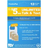 FreedomPop Less than $5/month, 12-Month Prepaid Plan - 3-in-1 LTE SIM Kit - Unlimited Talk, Text, 1GB Data