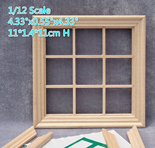 DIY 1:12 scale dollhouse miniature square 9 panel window frame /Lot 2 frames