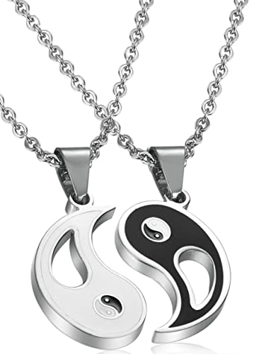 Fibo steel 2pcs stainless steel yin yang pendant necklace for men fibo steel 2pcs stainless steel yin yang pendant necklace for men women puzzle couples necklace mozeypictures Image collections