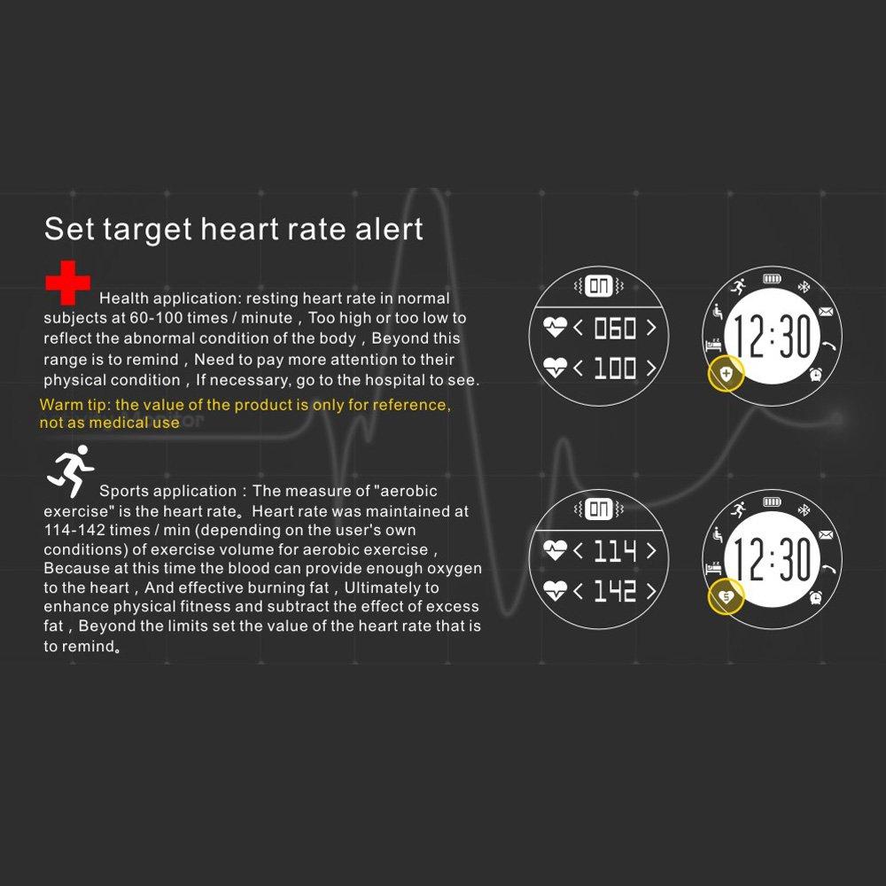 KKmoon F69 Smartwatch Deportivo Bluetooth 4.0 con 2 Correas para iOS 8.0 Android 4.3 Smartphone (Podómetro,Ritmo Cardíaco, Monitor de Sueño, ...