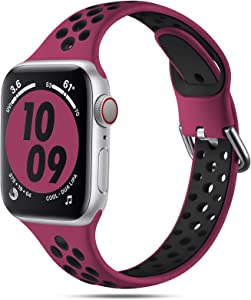 Henva Slim Breathable Band Compatible with Apple Watch SE Series 6 5 4 3 2 1, Soft Silicone Sport Replacement Band with Air Holes for Women Girls Compatible with iWatch 38mm 40mm, Fuchsia/Black