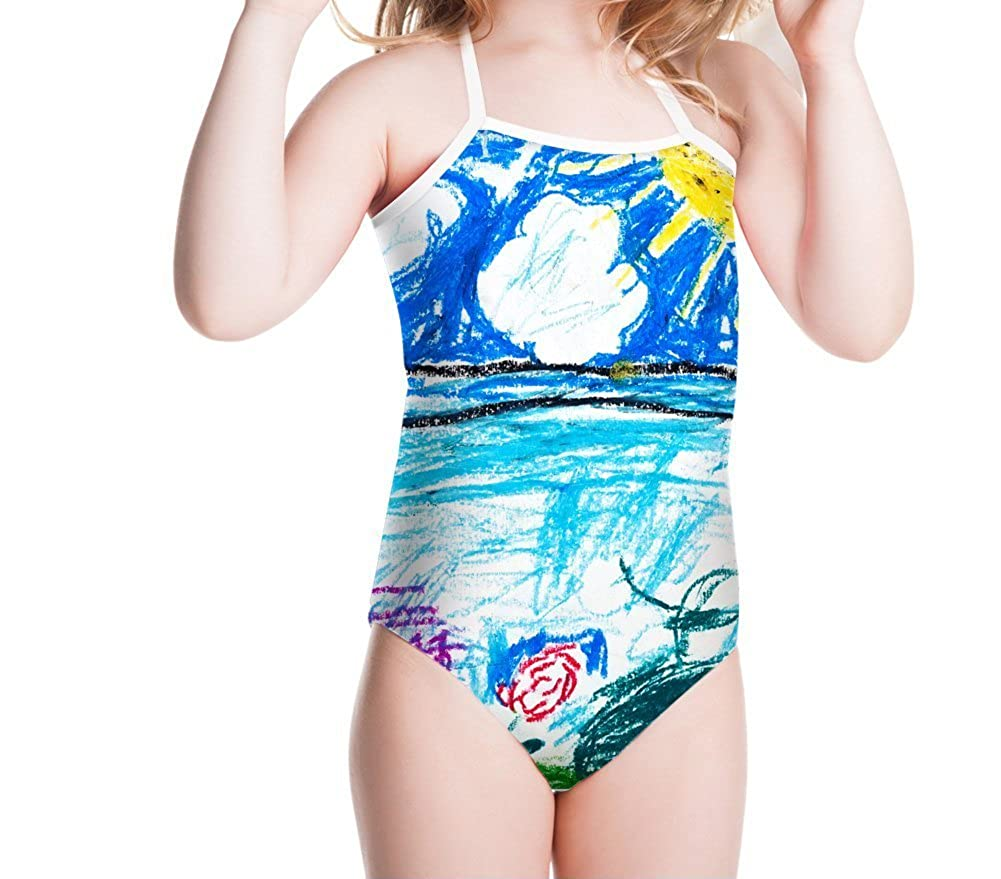 KIDVOVOU Girls Bathing Suit Floral Print One-Piece Swimsuit for Little Kids