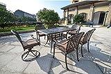 Cheap DOMI Rainier Cast Aluminum Outdoor Patio Set 7-Piece Powder Coated with 59″x35″ Rectangle Table,Antique Bronze