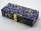 Xuan Oboe Reed Case for 40 Reeds Wooden Box Brocade Cover Blue Color