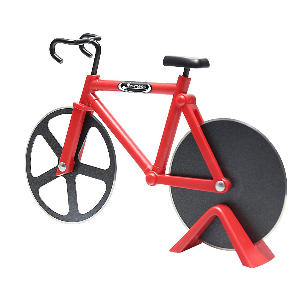 Pizza Cutter, Newness Bicycle Shape Dual Pizza Cutter, Bike Pizza Cutter Wheels with Dual Stainless Steel Blades for Home, Pizza Lovers, Red Newness Ongoing COMINHKPR130146