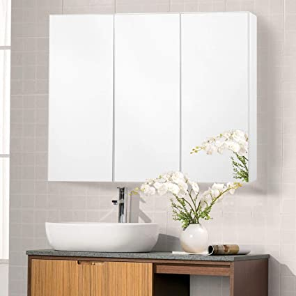 TANGKULA 36u0026quot; Wide Wall Mount Mirrored Bathroom Medicine Cabinet  Storage 3 Mirror Door