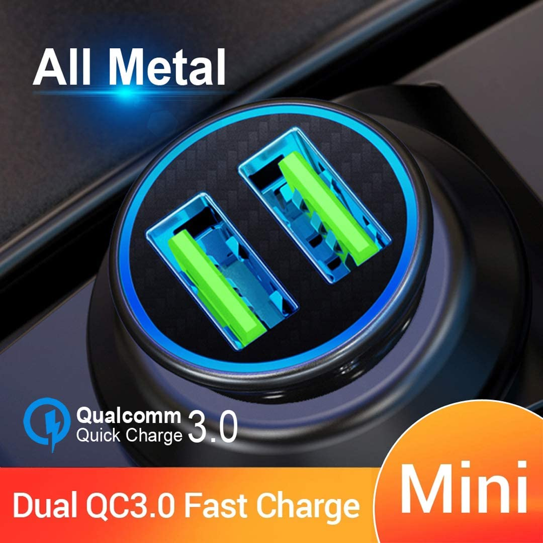 Galaxy LG and More Quick Charge 3.0 Car Charger Mini 30W 4.8A Metal Dual USB Ports QC 3.0 Car Charger Adapter Flush Fit Fast Charge Car Adapter for iPhone 11//XR//Xs//Max//X//8//7 iPad Pro//Air 2//Mini