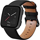 KADES for Fitbit Versa 2 Bands, Leather Band Replacement Strap Compatible with Fitbit Versa 2/Versa/Versa Lite/Versa SE for Women Men (Black Band+Black Buckle)