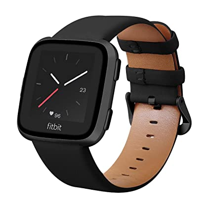 KADES for Fitbit Versa Bands, Classic Leather Band Replacement Strap Compatible for Fitbit Versa Lite Smart Watch Men Women (Black Band+ Black Buckle)