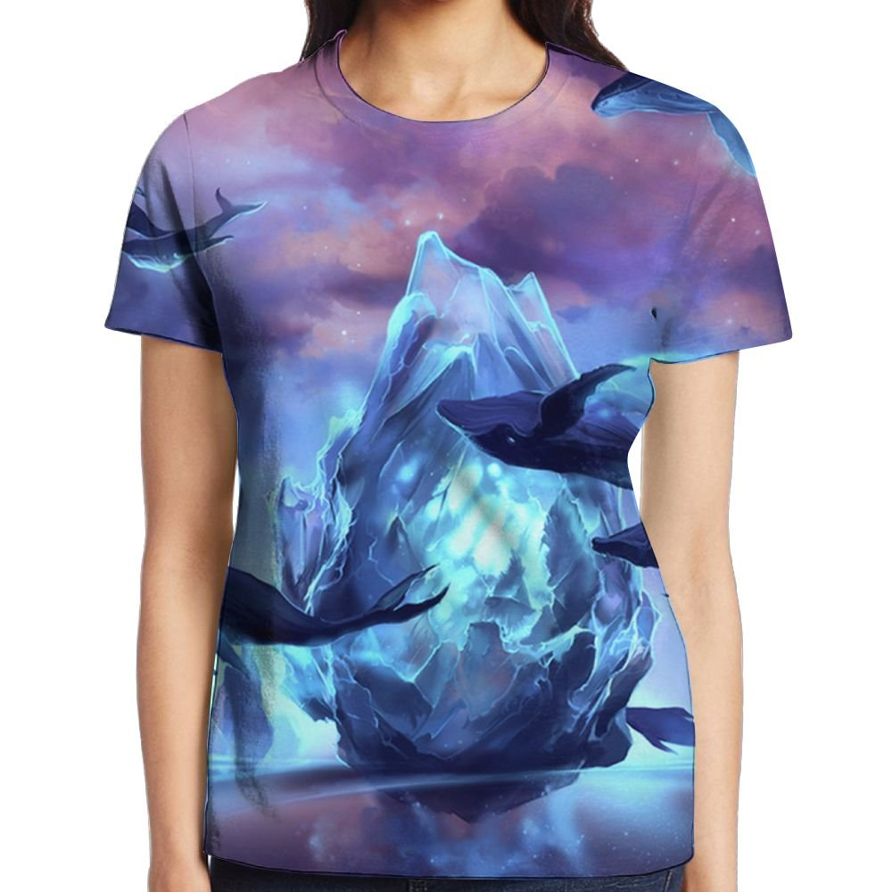 Fantasy Whale Heaven Women Sport Graphic Tee Short Sleeve Raglan ShirtsTops by XIA WUEY