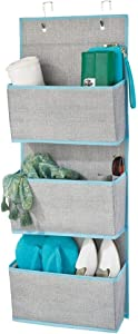 mDesign Soft Fabric Over The Door Hanging Storage Organizer with 3 Large Pockets for Closets in Bedrooms, Hallway, Entryway, Mudroom - Hooks Included - Textured Print - Gray/Teal Blue