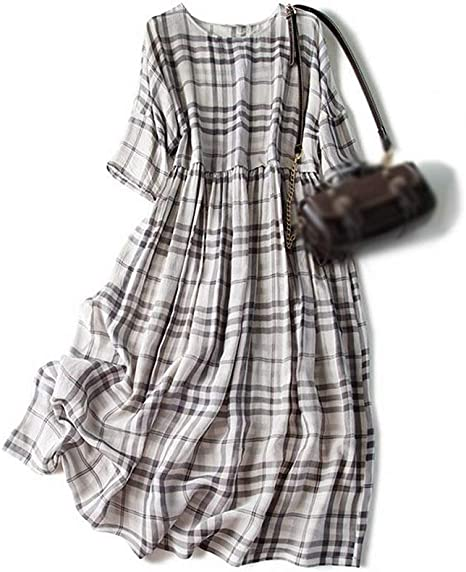 Vestido de Mujer Vestido de Seda con Falda Suelta Gris de Cuadros ...