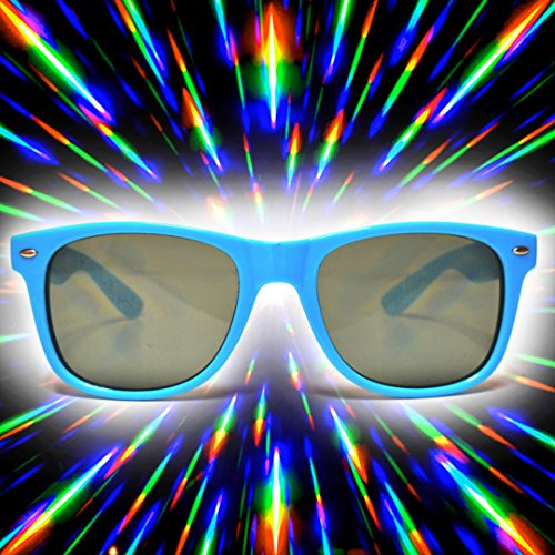GloFX Ultimate Diffraction Sunglasses – Blue Tinted Rave Glasses w/ Rainbow Effect - Sunglasses On Try 3d
