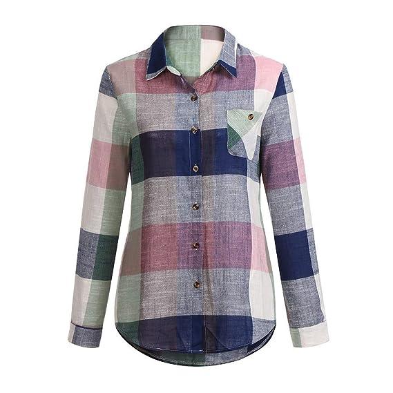 Linlink Mujeres Casual Partido de Color de Manga Larga botón Suelta Plaid Camisa Blusa de Lino